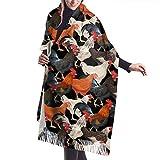 Tengyuntong Bufanda de mantón Mujer Chales para, Bufanda del invierno de la cachemira de la bufanda del mantón de las gallinas coloridas para los hombres de las mujeres