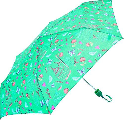 Der Welt des Regenschirm–Bedruckt Vögel und Schmetterlinge–Susino Regenschirm zusammenklappbar, 24cm, bunt