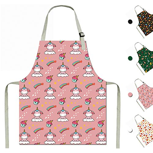 Kids Baking Aprons Child Apron Cotton Kids Aprons Unicorn Apron for Boys Girls Cooking (Pink, Small)