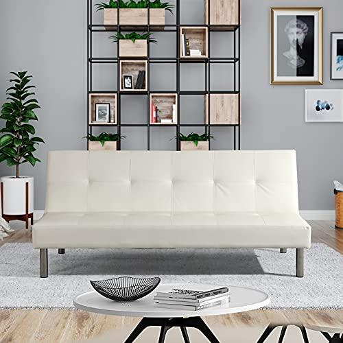 Divano letto Lucky 3 posti reclinabile ecopelle 3 posti - casa - ufficio - e piedi in metallo (Ecopelle, Bianco)