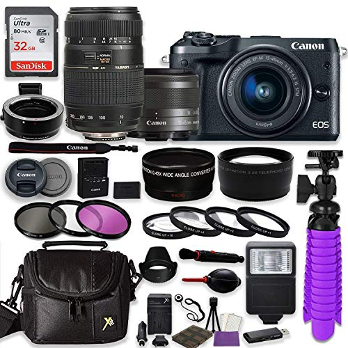 Canon EOS M6 Mirrorless Digital Camera (Black) Bundle w/Canon EF-M 15-45mm is STM & Tamron 70-300mm Di LD Lenses + Auto (EF/EF-S to EF-M) Mount Adapter + Gadget Bag + Accessories