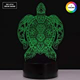 Turtle Night Light 3D Optical Illusion Lamp Turtle Colorful Lighting Effect of sea Turtle lamp Touch Switch USB Powered LED Decoration Night Light Desk Lamp…