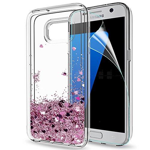 LeYi Hülle Galaxy S7 Edge Glitzer Handyhülle mit HD Folie Schutzfolie,Cover TPU Bumper Silikon Flüssigkeit Treibsand Clear Schutzhülle für Case Samsung Galaxy S7 Edge Handy Hüllen ZX Rot RoseGold