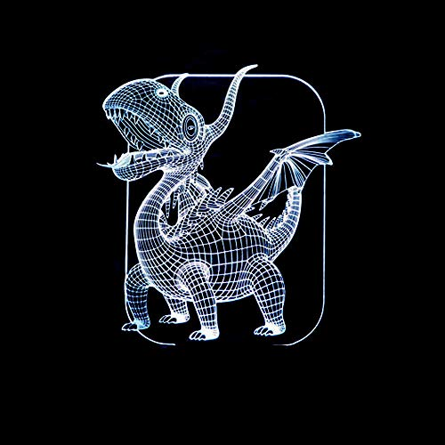 Anime 3D Night Light Pterodactyl 3D Viselle LED Night Light Dinosaur 3D Table Lamp Usb7 Color Cambia Mejor Children's Gift Holiday Gifts for Children