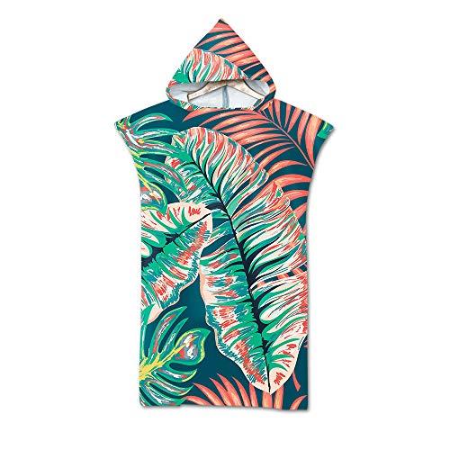 Fansu Poncho Toalla Impresa con Gorra, Adulto Verano Playa natación Surf Albornoz Cambio de Ropa Microfibra Toalla Albornoz baño baño Playa (75 * 110cm,E) 🔥