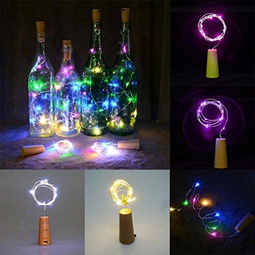Xixini - Guirnalda de botellas de vino (corcho artificial, alambre de cobre, funciona con pilas, para recámara, fiestas, bodas, decoración)