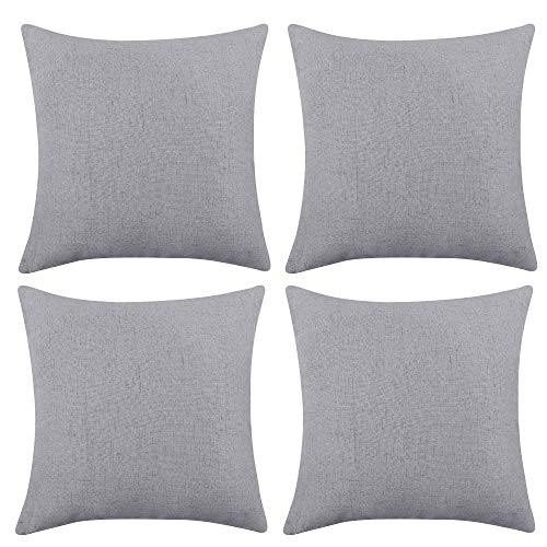 Deconovo Square Throw Pillow Case Cushion Protectors Faux Linen Cushion Covers for Chairs with Invisible Zipper 16x16 Inch 4 Pieces Neutral Grey