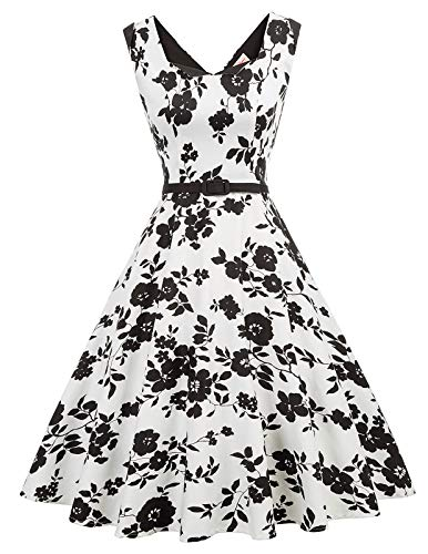 Damen Swing Kleid Petticoat Kleid Vintage Retro Sommerkleid Partykleid Größe S BP905-1