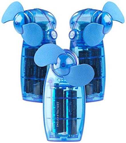 PEARL Handventilatoren: Batterie-betriebener Mini-Hand- und Taschen-Ventilator, blau, 3er -Set (Handventilator mit Batterie)