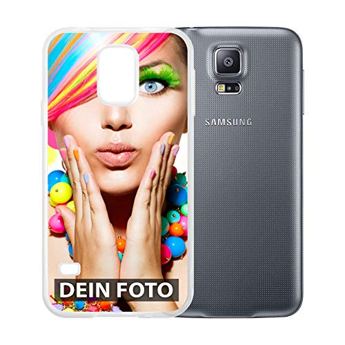 dP deinPhone Samsung Galaxy S5 - Handyhülle - Selbst gestalten/Individuell bedruckbar/eigenem Foto oder Text/Silikonhülle Transparent