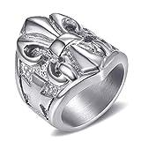 BOBIJOO Jewelry - Bague Chevalière Fleur de Lys Doré Argenté Croix Malte Anneau Templier Acier Inoxydable 316L Lis - 73 (14 US), Acier Inoxydable 316