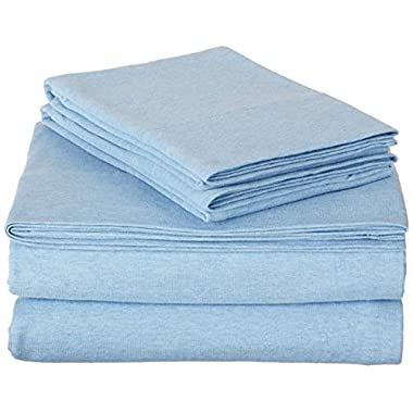 AmazonBasics Heather Jersey Sheet Set - Queen, Sky Blue