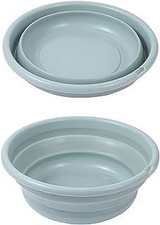 VISZC Paquet de 2 lavabos Pliables, lavabo Pliant à lessive, Seau Pliable à Fruits de légumes, Seau extérieur de Voyage de...