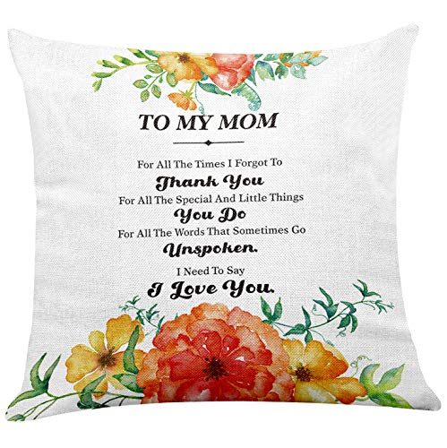 yuzi-n Mom Quote to My Mom I Love You Floral Pillow Covers for Mom Home Decor - Thank You Mom Mother Gifts from Daughter Son for Mother's Day Birthday Christmas