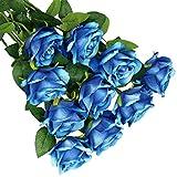 Olrla 10 rosas artificiales azules con tallo, rosas falsas florecientes de terciopelo, ramos de novia para boda, hogar, fiesta de cumpleaños, arreglo de jardín decoración (azul 10)