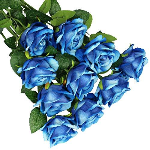 Olrla 10 rosas artificiales azules con tallo, rosas falsas florecientes de terciopelo,...