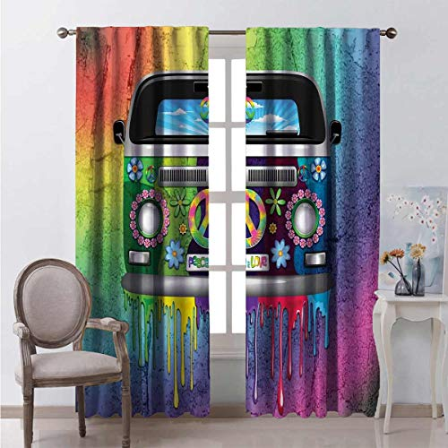 Toopeek Groovy Wear-resistant color curtain Old Style Hippie Van with Dripping Rainbow Paint Mid 60s Youth Revolution Movement Theme Waterproof fabric W100 x L84 Inch Multi