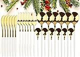 GUANGE Juego de cubiertos de 24 piezas, juegos de cubiertos de acero inoxidable, juego de cucharas y tenedores, servicio para 6, cubiertos con espejo, tenedores y cucharas, cubiertos, oro blanco