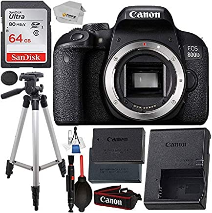 """$529 Get Canon EOS 800D (Rebel T7i): Includes Promotional Spare Battery+ SanDisk Ultra 64GB SDHC Class 10 Card, 50"""" Tripod, and More"""