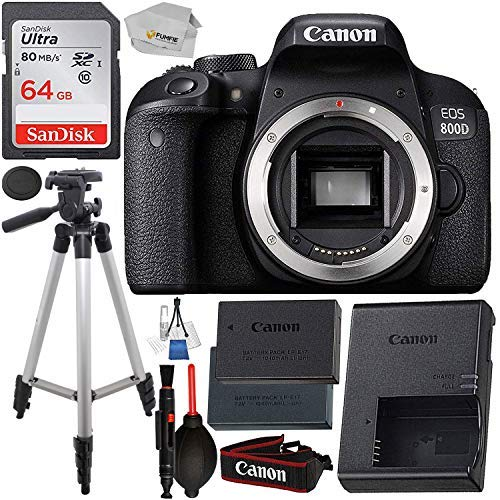 Canon EOS 800D (Rebel T7i): Includes Promotional Spare Battery+ SanDisk Ultra 64GB SDHC Class 10 Card, 50 Tripod, and More