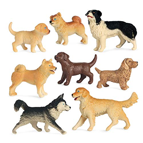 Blingparty 8Pcs Mini Dog Figurines  Realistic Dog Figures Toy Set  Plastic Dog Figure Animals Playset  Miniature Dog Animal Puppy Toys for Cake Topper  Educational Learning Toy Set for Kids Toddlers