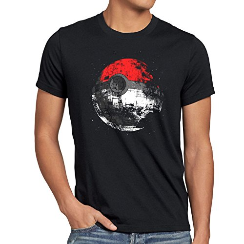 style3 Poke Death T-Shirt Herren Todesstern Star Ball Monster Videospiel, Größe:XL