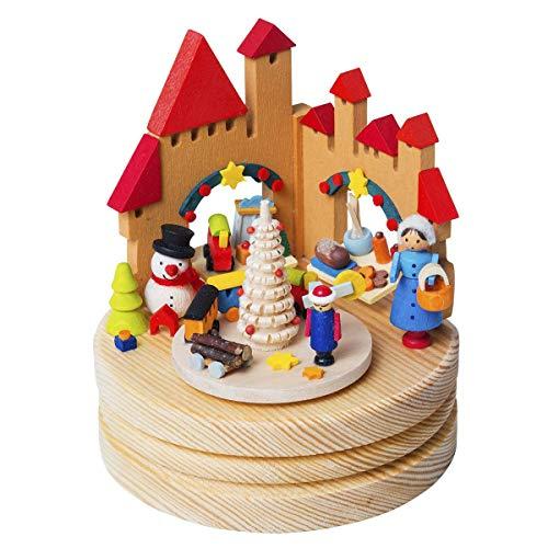 Graupner Holzminiaturen | Spieluhr 'Weihnachtsmarkt' aus Holz | Melodie 'Oh Tannenbaum' | Original Erzgebirgische Holzkunst® | Hochwertige Handarbeit | besondere Geschenkidee zu Weihnachten