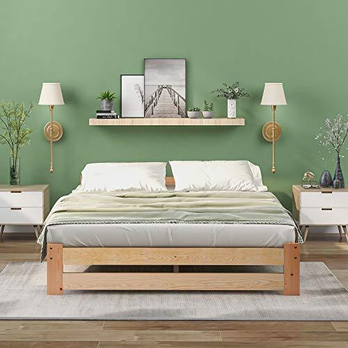 Massivholzbett Doppelbett Futonbett Massivholz Natur Seniorenbett erhöhtes Bett aus 100% Naturholz mit Kopfteil und Lattenrost, Natur (200x140cm)