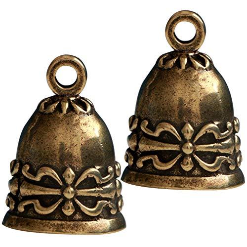 Exceart 2 Stuks Koperen Bel Vintage Antiek Messing Hangende Scheepsbel Hanger Ornament Voor Sleutelhanger Tas Windgong Maken Diy Ambacht