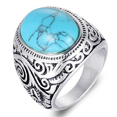 Beydodo Herren Ring Sterling Titan mit Gravur Muster Türkis Gothic Ring Silber Freundschaftsring Partnerring Gr. 70 (22.3)