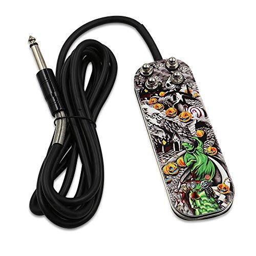 Autdor Tattoo Foot Pedal - Premium Tattoo Pedal Stainless Steel Tattoo Foot Pedal Switch with 5.9Ft Silicon Soft Wire Power Cord for Tattooing, Tattoo Machine Power Supply, Tattoo Supplies, Tattoo Kit