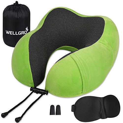 WELLGRO Nackenkissen Set mit 3D Schlafmaske und Ohrstöpsel - Abnehmbarer Bezug - Memory Schaum - Reißverschluss - inkl. Aufbewahrungstasche - Reisekissen - Farbe wählbar, Farbe:Grün