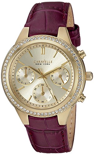 Caravelle New York Women's Stainless Steel Quartz Watch with Leather-Crocodile Strap, Purple, 9 (Model: 44L182)