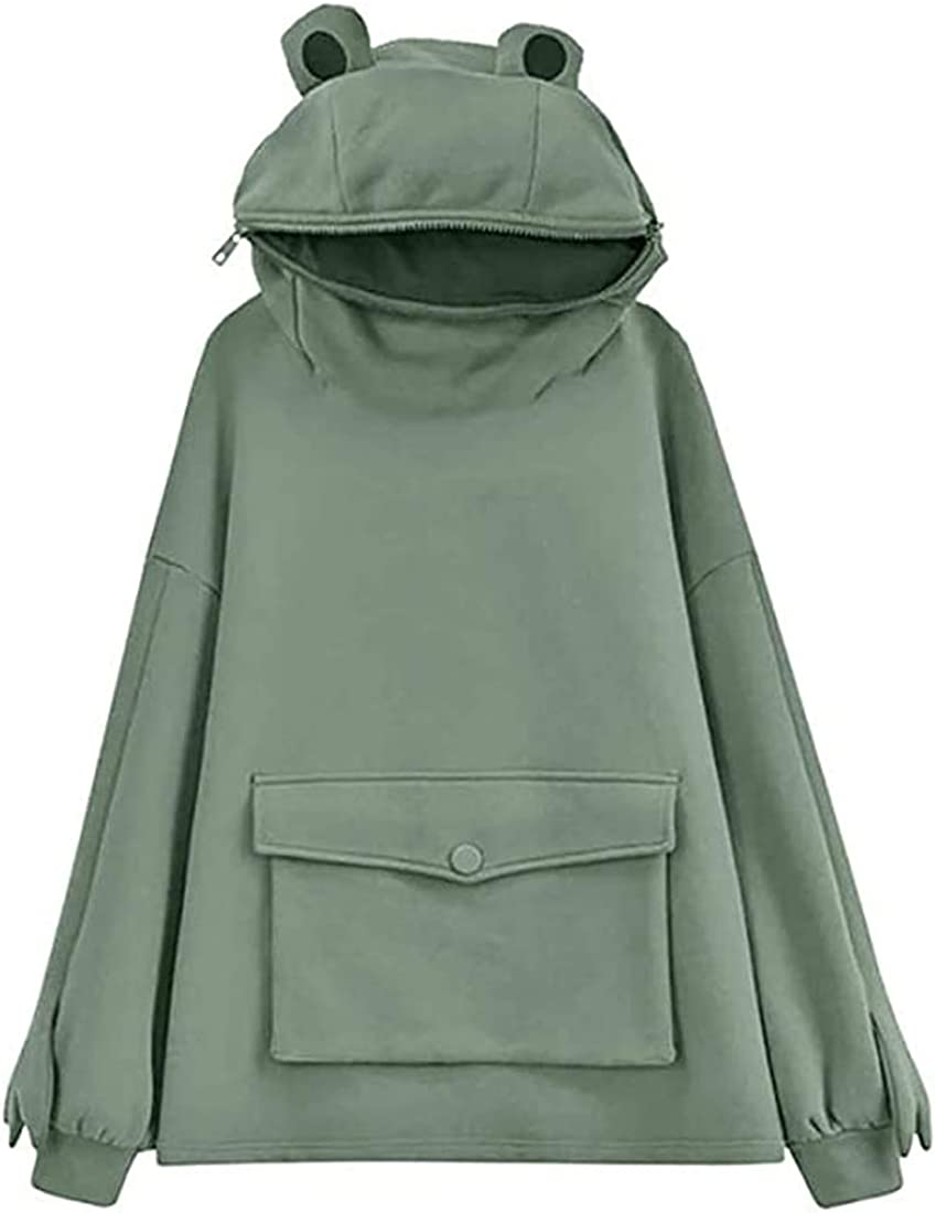 Womens Girls Frog Hoodies Zipper Mouth Hooded Pullover Sweatshirt with Large Pocket