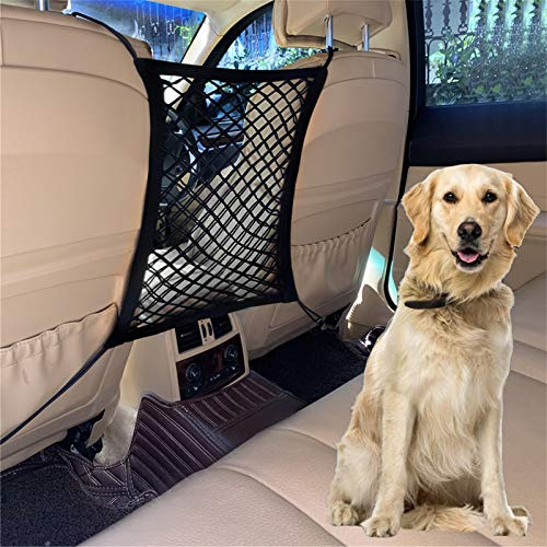 DYKESON Car Dog Barrier, Dog Net for Car Between Seats,Stretchable Mesh Obstacle,Pet Barrier Backseat Mesh Dog Car Divider Net for Cars, SUVs - Safe Driving with Children and Pets, 2 Layers