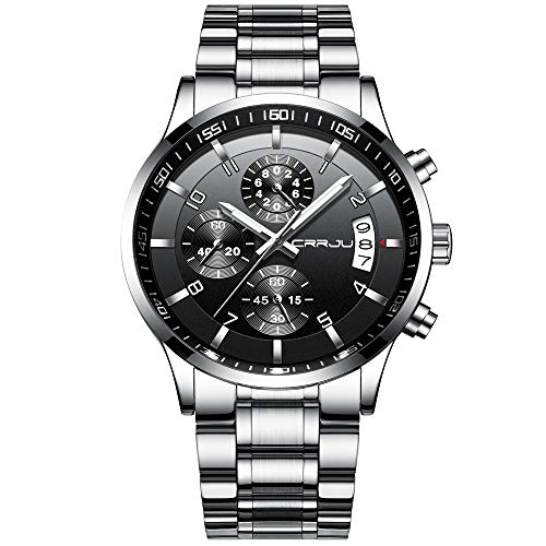 CRRJU - Reloj de pulsera para hombre, cronógrafo multifuncional, correa de acero inoxidable resistente al agua