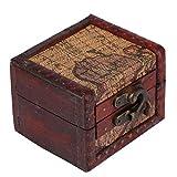 YUYTE Baúl de Madera, joyero Cuadrado Vintage, Accesorios fotográficos, Arte Oriental Occidental Combinado con Caja de Madera con Obras de Arte Hechas a Mano