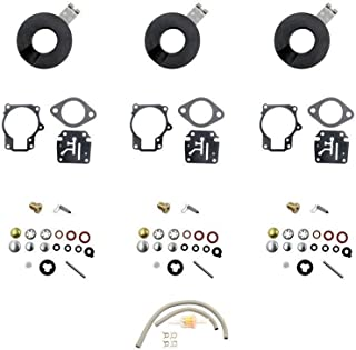 DEF Carb Repair Kit for Evinrude Johnson Dual 0398729 0396701 0392061 Mallory 9-37107 Sierra 18-7222 Horse Power 18 20 25 28 30 35 40 45 48 50 55 60 65 70 75 HP Outboard Motors with Float (3 package)
