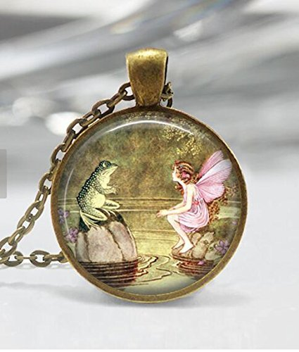 Frog and Fairy Necklace Once Upon a Time Fairy Tale Pixie Mythology Fantasy Art in Bronze or Silver Pendant with Link Chain Included