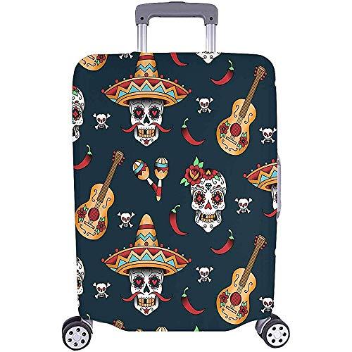 Reisegepäckschoner Kofferbezüge Schädel Gitarre und Paprika Passform Gepäck Größe M