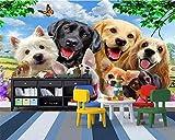La hierba linda de la historieta del papel pintado de la foto en un grupo de perro le gusta la pared del fondo del sitio Murales Papel Pintado a papel Fotográfico Fotomural dormitorio-400cm×280cm