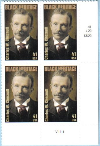 CHARLES W. CHESNUTT ~ BLACK HERITAGE ~ AUTHOR ~ Plate Block of 4 x 41 cents US Postage Stamps (Scott #4222)