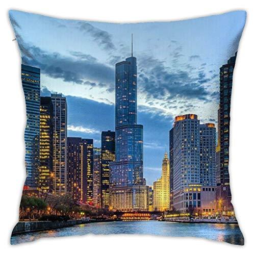 BEDKKJY Home Decor Kussensloop Vierkant Kussensloop met Verborgen Rits Kussensloop voor Slaapbank Auto 18 X 18 Inch USA Chicago Skyline Nachtzicht