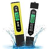 Xddias Probador de Calidad del Agua, 2 Pcs PH Medidor TDS PH EC Temperatura 4 en 1 Juego, Digital PH para Agua Potable Hidroponía Acuarios Estanque de Peces y Piscina