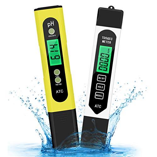 Wasser PH Messgerät, 2 Stück Wasserqualität Tester TDS EC PH Temperatur 4 in 1, PH Tester für Trinkwasser Schwimmbad Aquarium Pools Labor