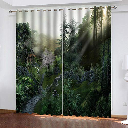 LOVEXOO Darkening Curtains Natural landscape 28.54'x96.46' Super Soft Window Treartment Thermal Insulated Energy Saving Window Curtains Decorative Blackout Curtains 2 Panels