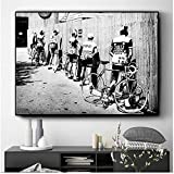 Cuadro de pared 50x60cm sin marco Retro bicicleta foto lienzo póster blanco y negro decoración de ba...