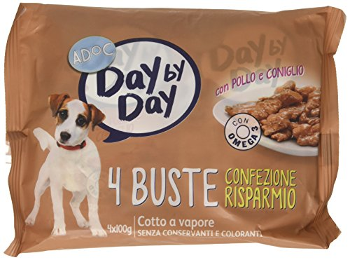 Adoc Day by Day - alimento completo per cani adulti con pollo e coniglio - 40 buste da 100gr
