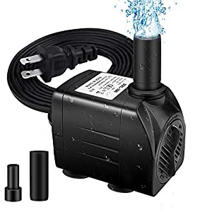 """Winkeyes Fountain Pump 200GPH with 63"""" Lift, 15W Small Submersible Fountain Water Pump for Outdoor Indoor Tabletop Water Fountain, Aquarium, Fish Tank, Hydroponic, Pond, 6ft Power Cord, 2 Nozzles"""