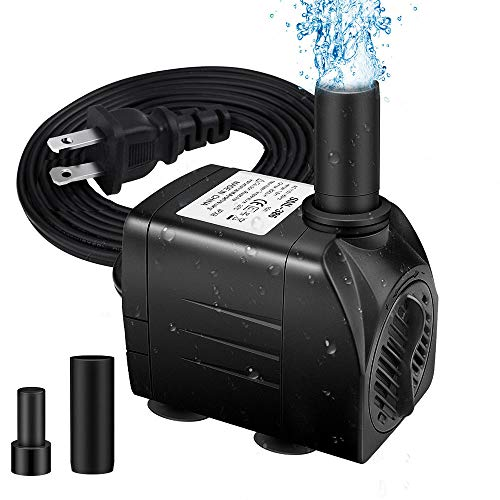 "Winkeyes Fountain Pump 200GPH with 63"" Lift, 15W Small Submersible Fountain Water Pump for Outdoor Indoor Tabletop Water Fountain, Aquarium, Fish Tank, Hydroponic, Pond, 6ft Power Cord, 2 Nozzles"